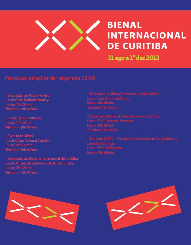 Programação desta terça-feira (03) da Bienal Internacional de Curitiba