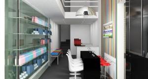 Projeto arquitetônico do interior de um estabelecimento com estrutura de contêiner