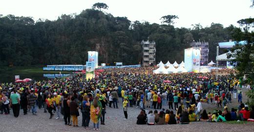 O local ficou com a lotação máxima para o jogo da seleção | Foto: Gabriela Giannini