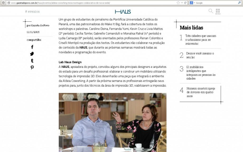 Divulgação da atividade de Jornalismo da PUCPR na Haus (Gazeta do Povo)