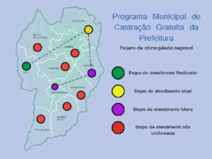 O mapa mostra as áreas de curitiba pelas quais o Castramóvel já passou, onde está, as programadas e as que ainda há de passar.